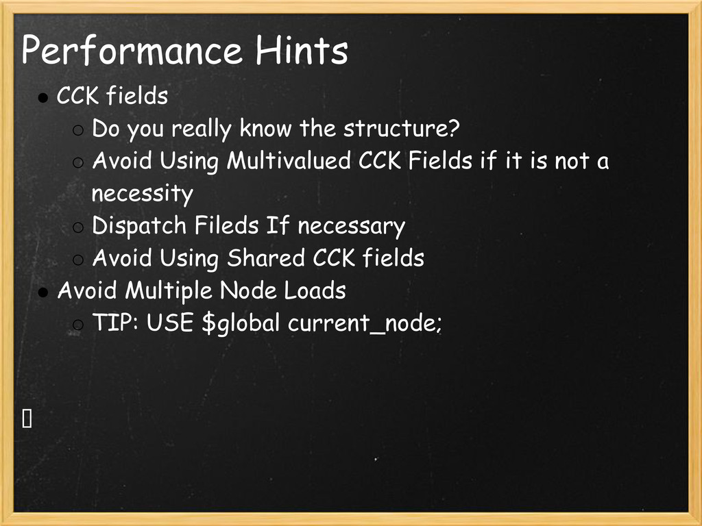 Performance Hints CCK fields Do you really know...