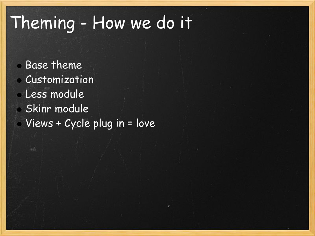 Theming - How we do it Base theme Customization...