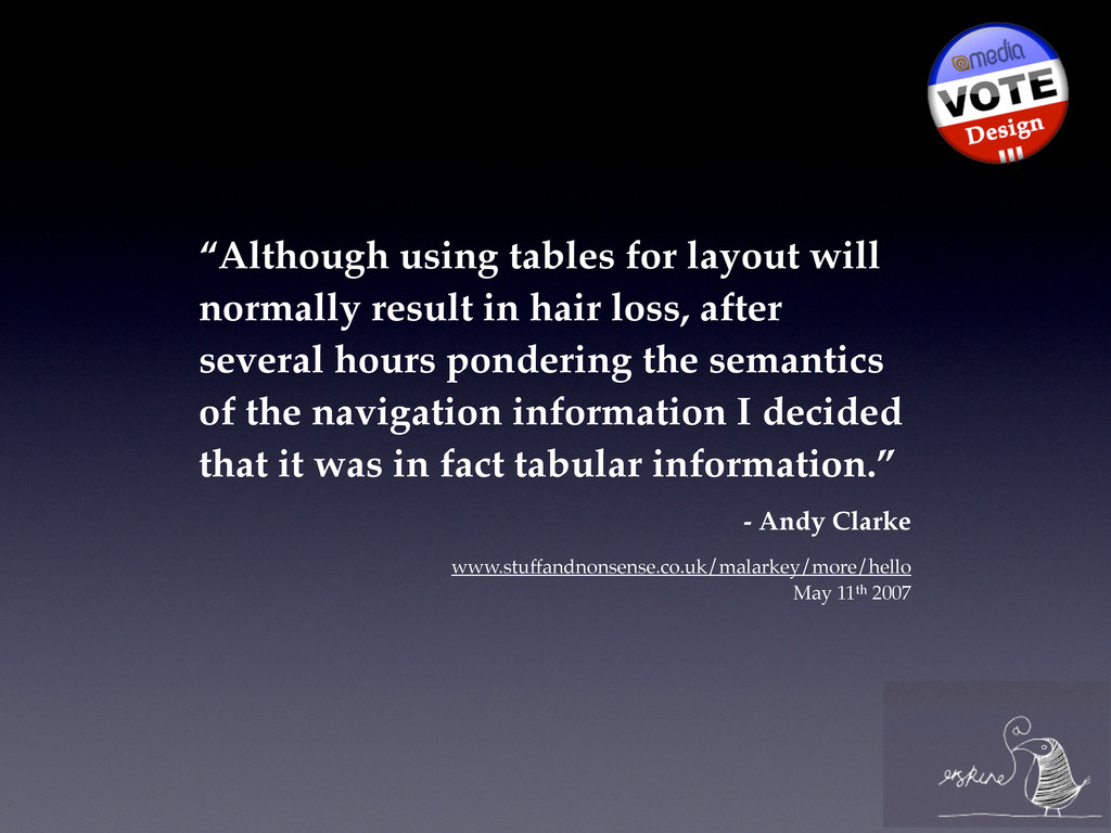 """""""Although using tables for layout will normally..."""