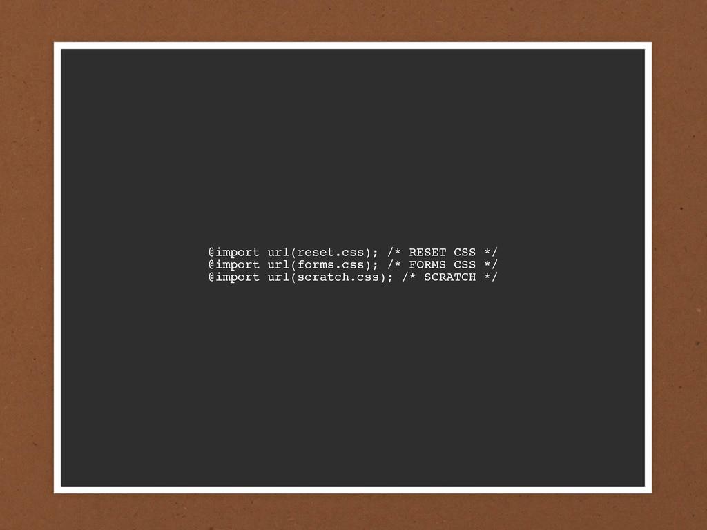 @import url(reset.css); /* RESET CSS */ @import...