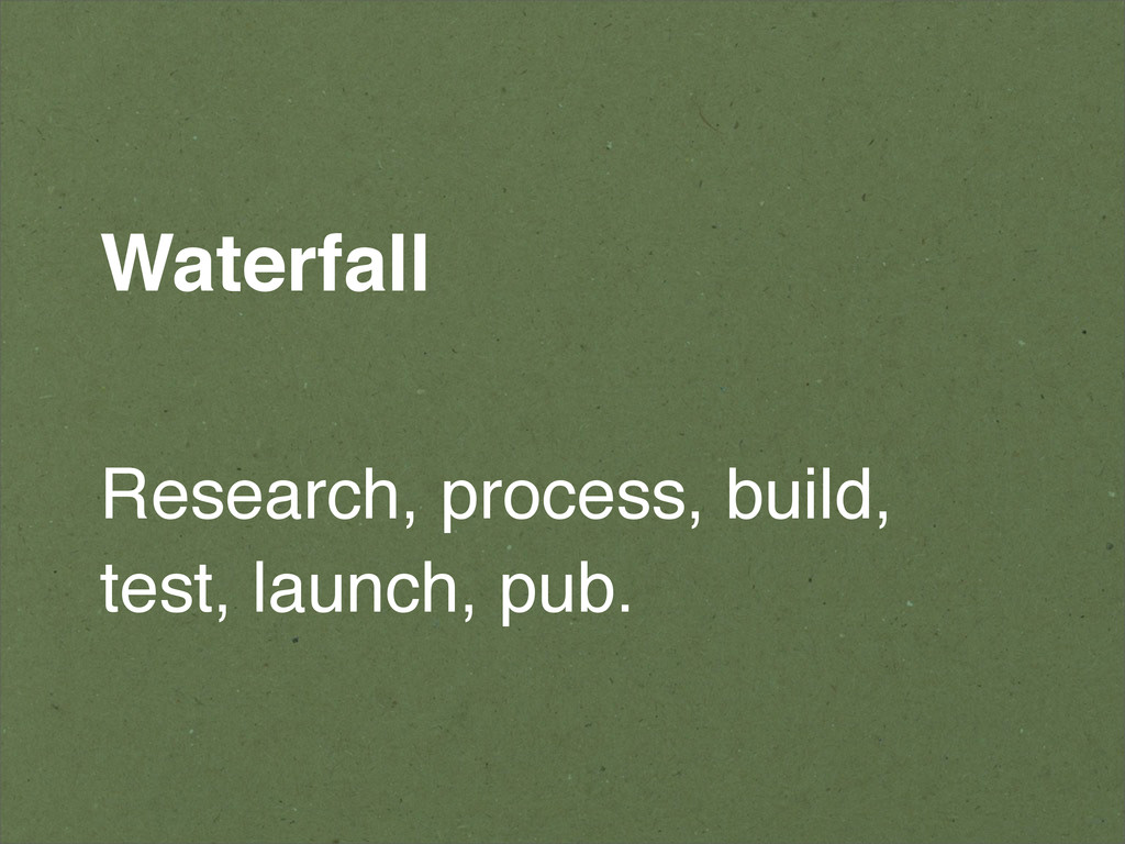 Waterfall Research, process, build, test, launc...