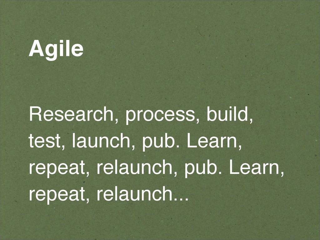 Agile Research, process, build, test, launch, p...