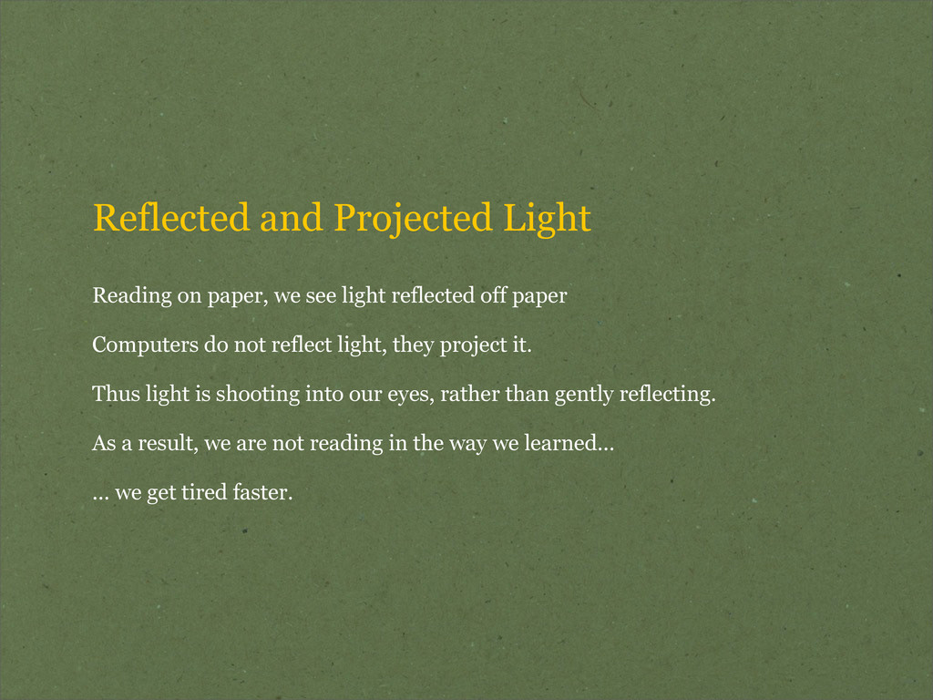 Reflected and Projected Light Reading on paper,...