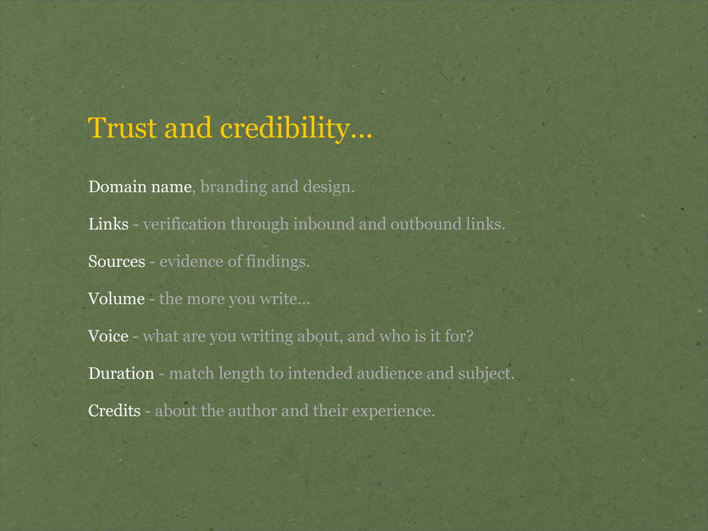 Trust and credibility... Domain name, branding ...