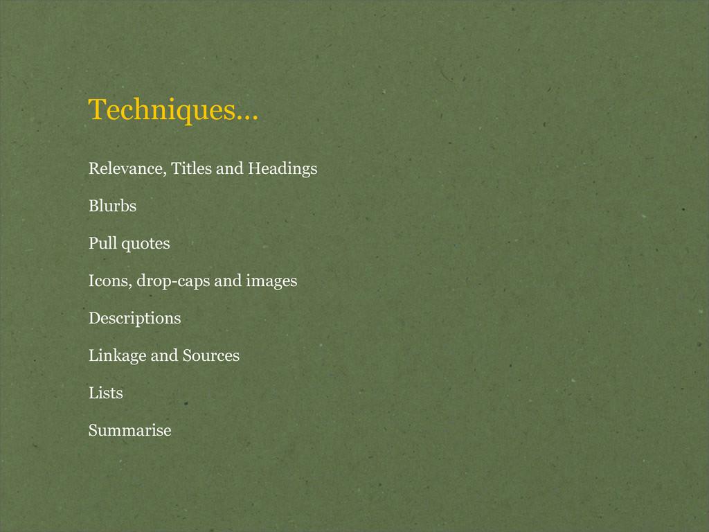 Techniques... Relevance, Titles and Headings Bl...