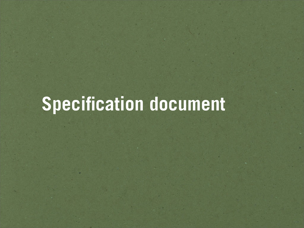 Specification document