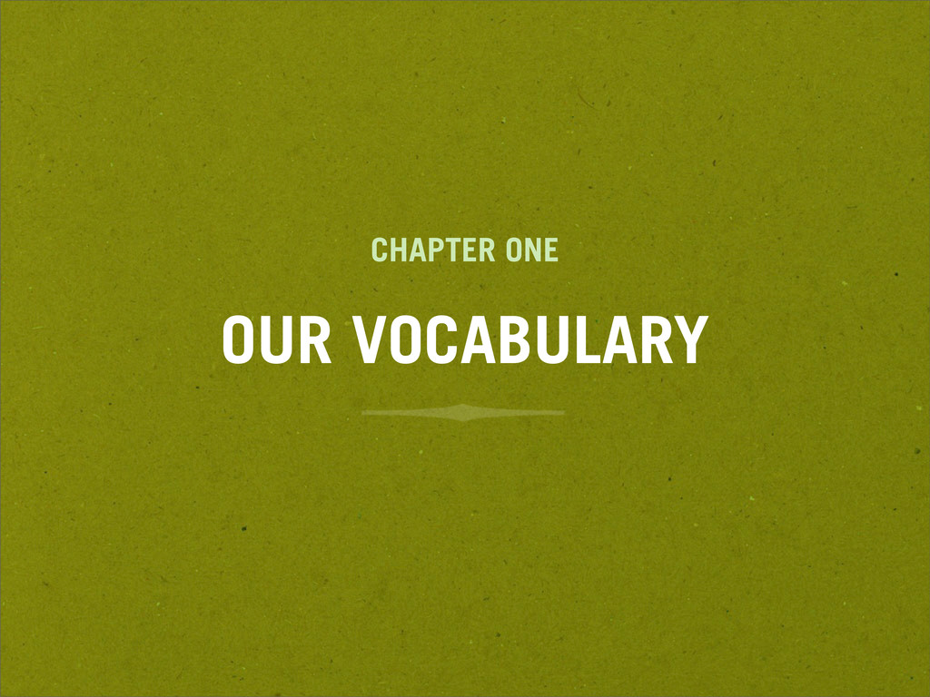 CHAPTER ONE OUR VOCABULARY