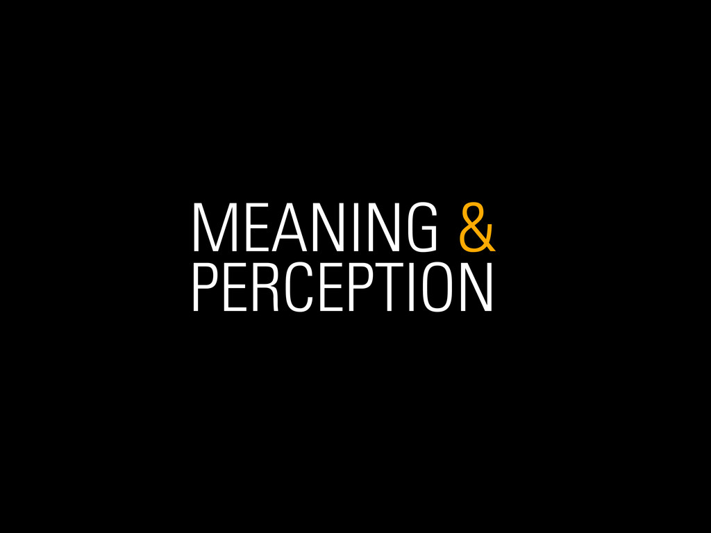 MEANING & PERCEPTION