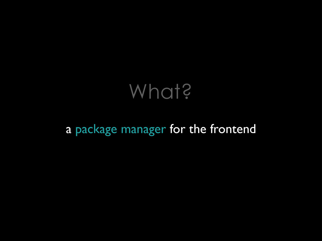 What? a package manager for the frontend
