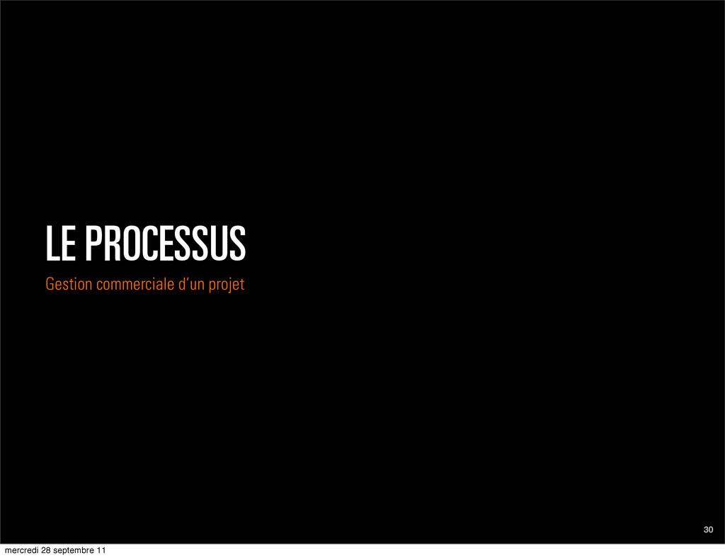 LE PROCESSUS Gestion commerciale d'un projet 30...