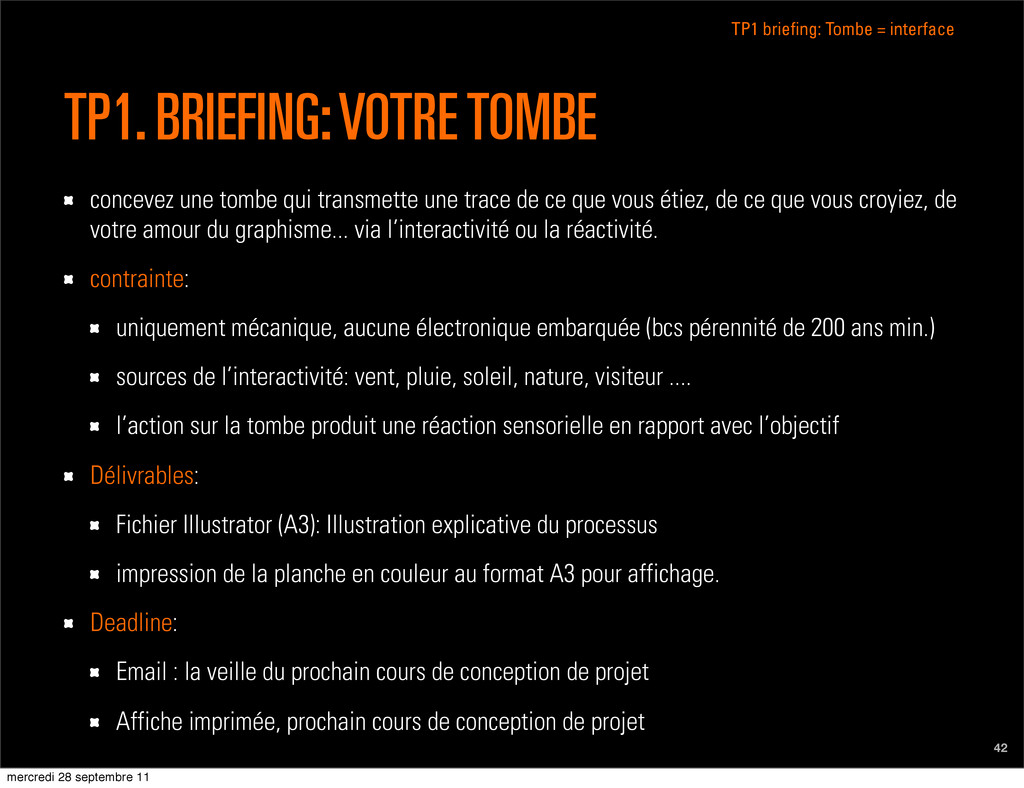 TP1 briefing: Tombe = interface 42 TP1. BRIEFIN...