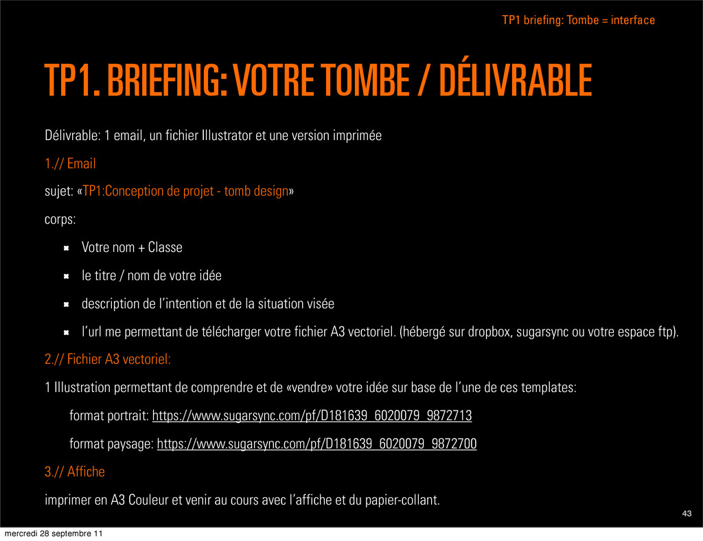 TP1 briefing: Tombe = interface 43 TP1. BRIEFIN...
