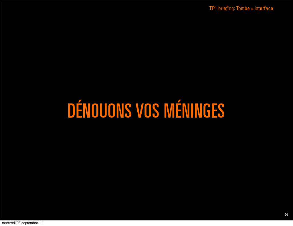 DÉNOUONS VOS MÉNINGES 56 TP1 briefing: Tombe = ...