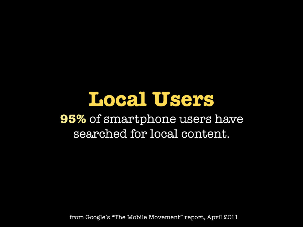 Local Users 95% of smartphone users have search...