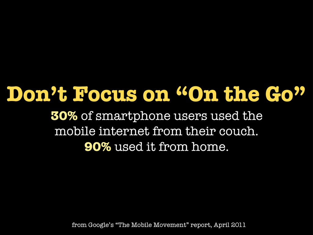 "Don't Focus on ""On the Go"" 30% of smartphone us..."