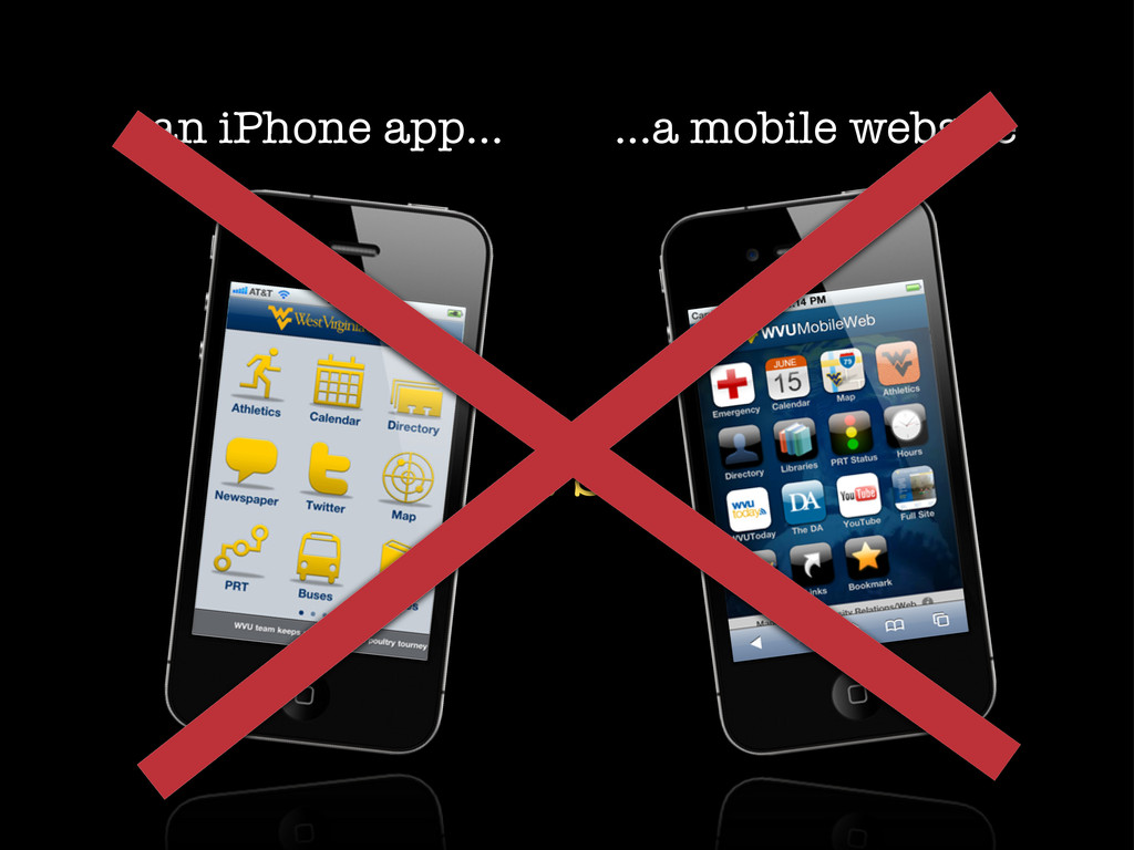an iPhone app... ...a mobile website vs.