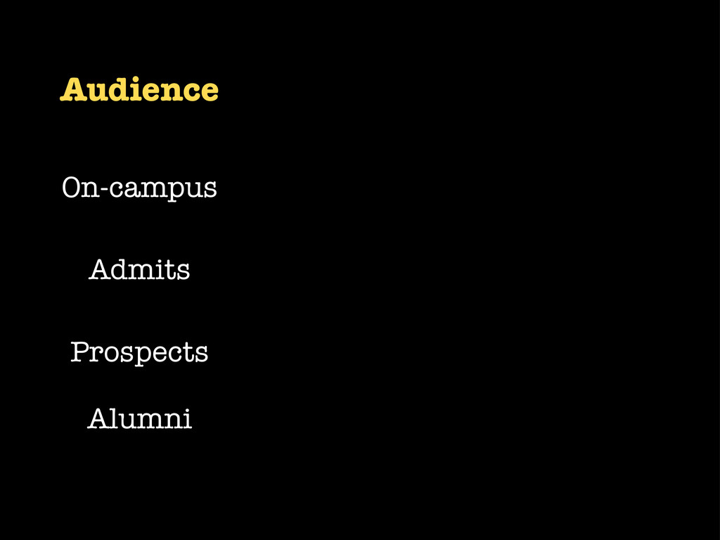 Audience On-campus Admits Prospects Alumni