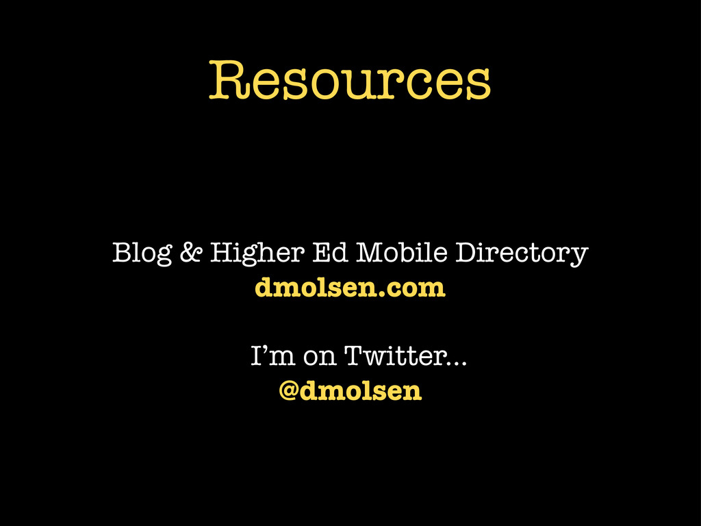 Resources Blog & Higher Ed Mobile Directory dmo...