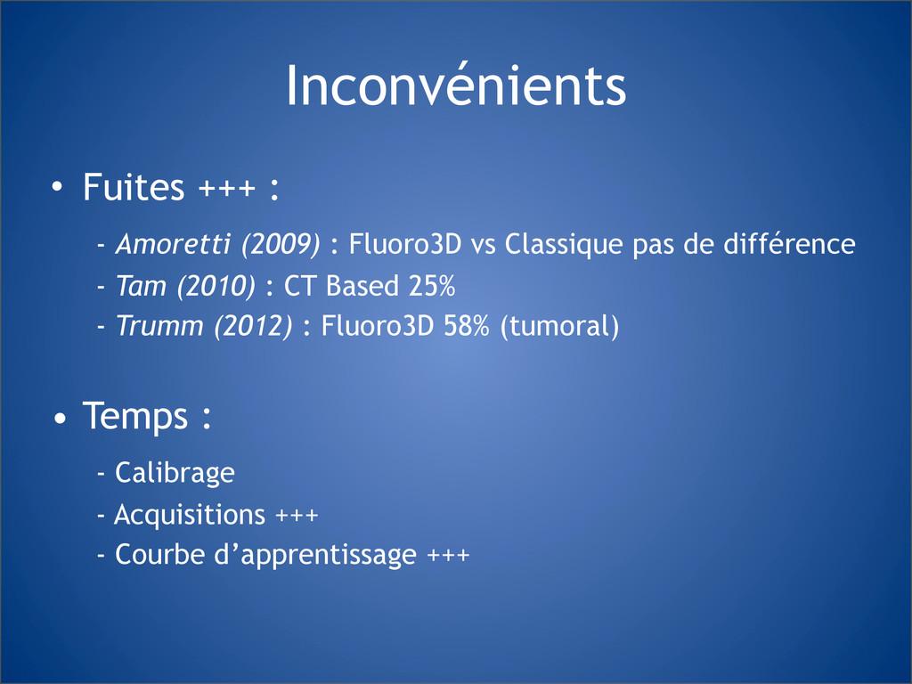 Inconvénients • Fuites +++ : - Amoretti (2009) ...