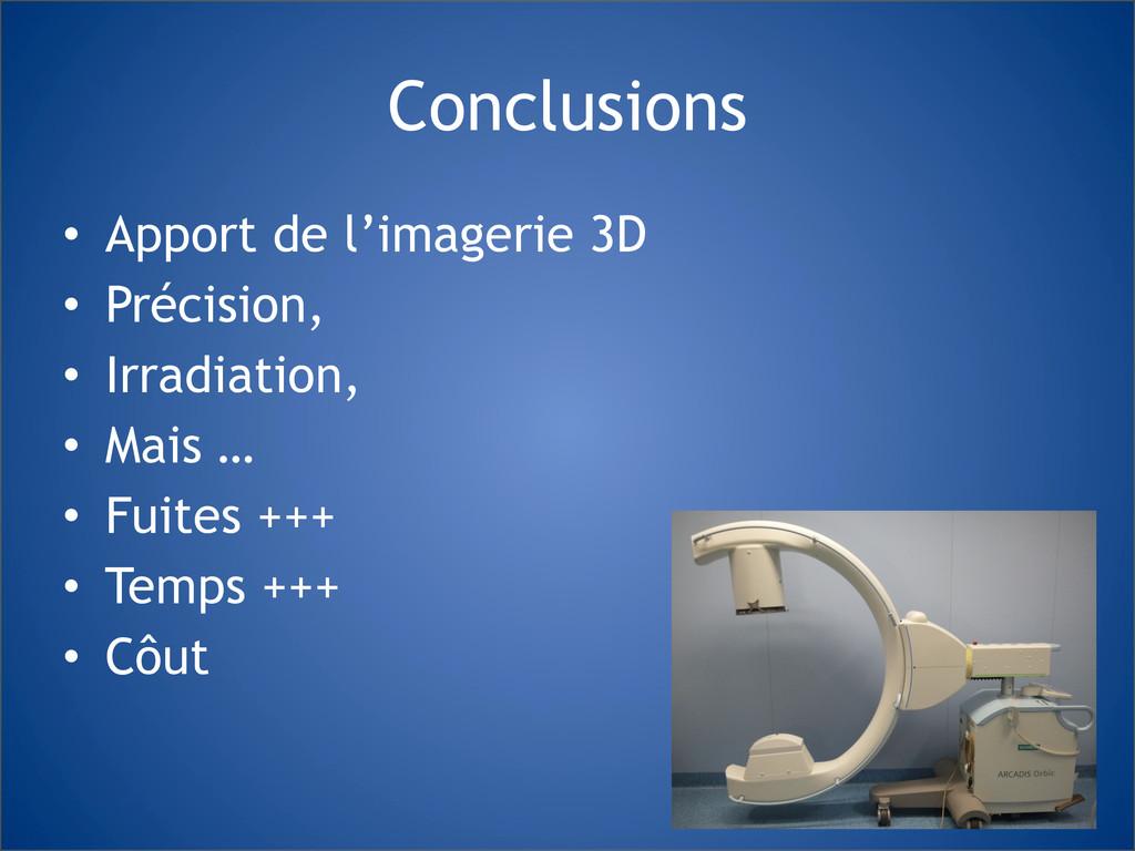 Conclusions • Apport de l'imagerie 3D • Précisi...