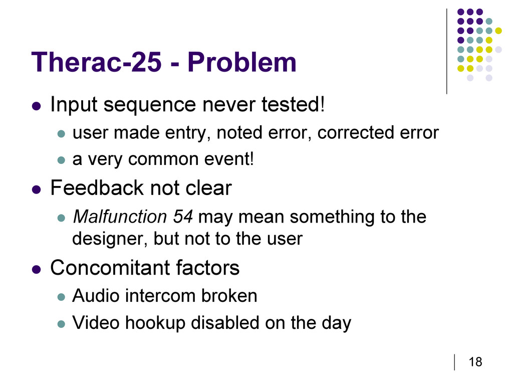 18 Therac-25 - Problem   Input sequence never ...