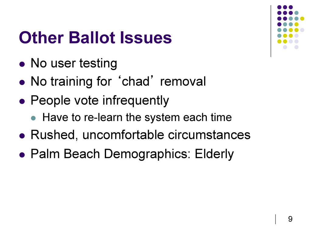 9 Other Ballot Issues   No user testing   No ...