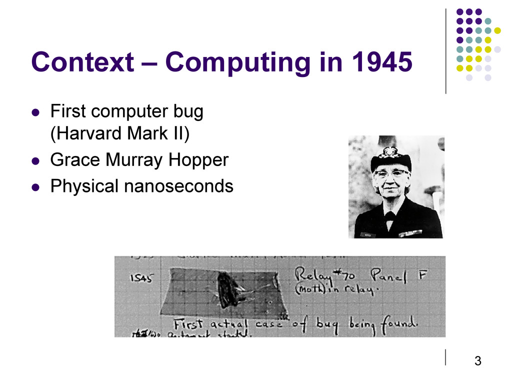 3 Context – Computing in 1945  First computer...