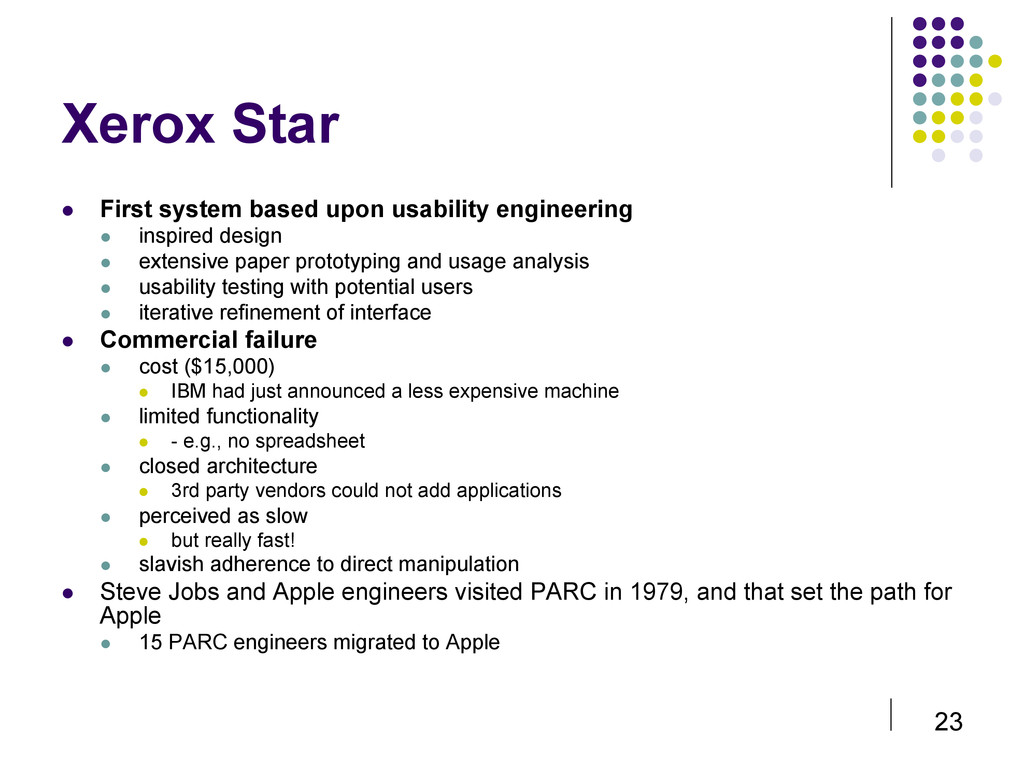 23 Xerox Star  First system based upon usabil...