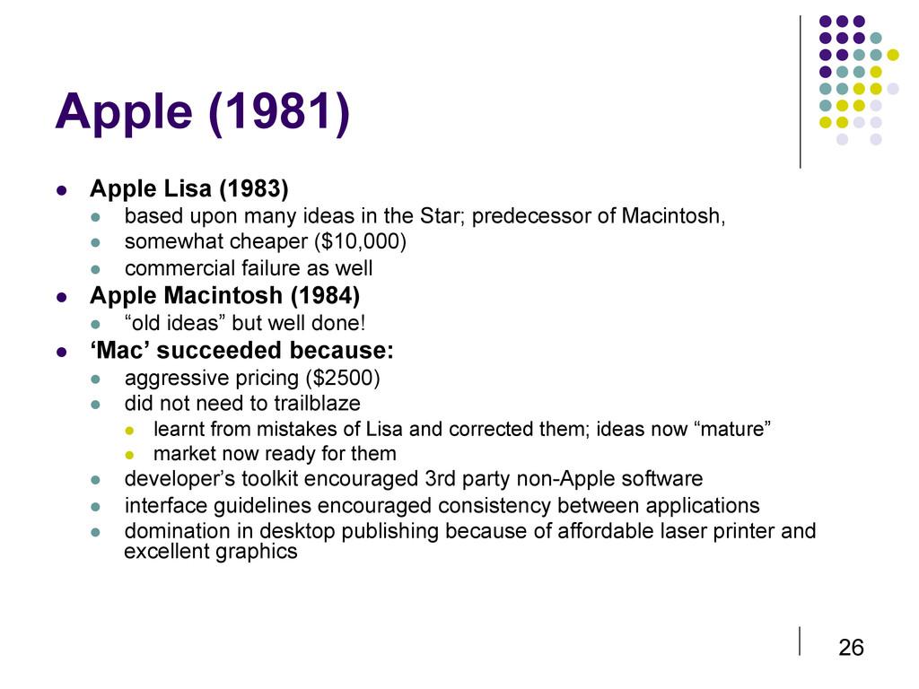 26 Apple (1981)  Apple Lisa (1983)  based u...