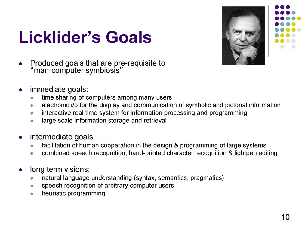 10 Licklider's Goals  Produced goals that are...