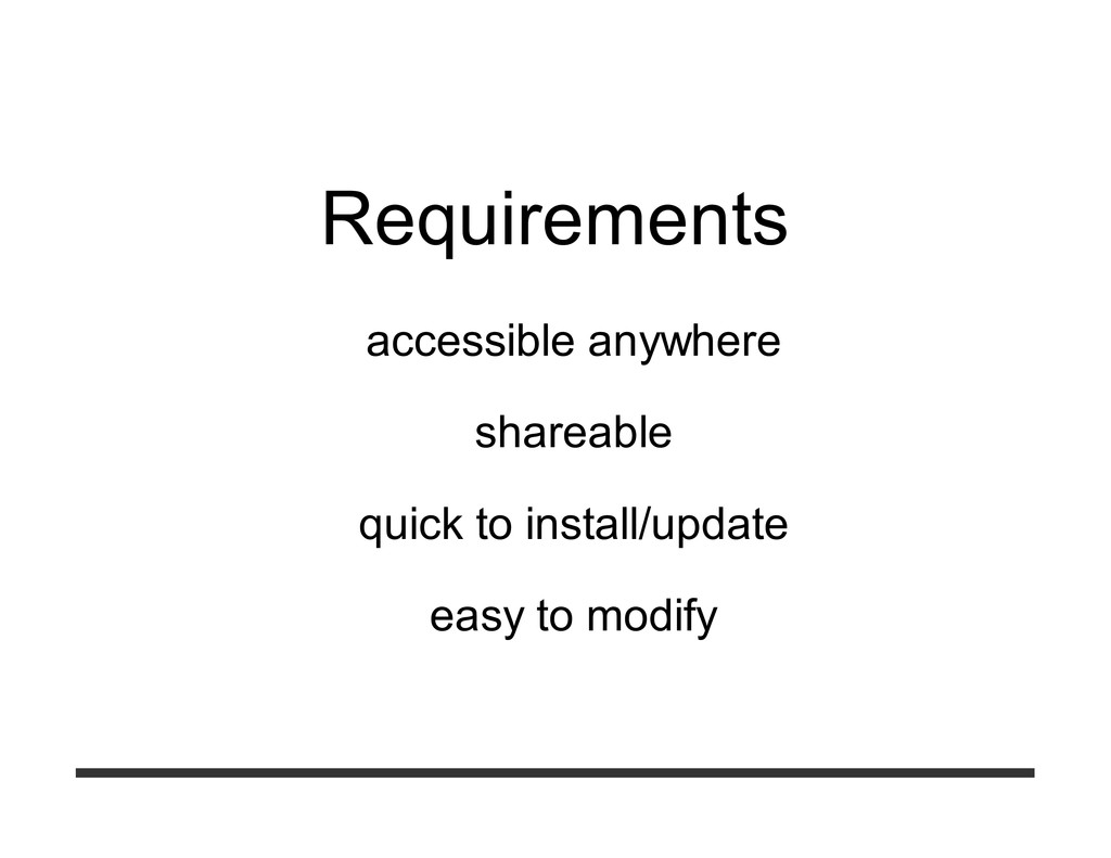 Requirements accessible anywhere shareable quic...