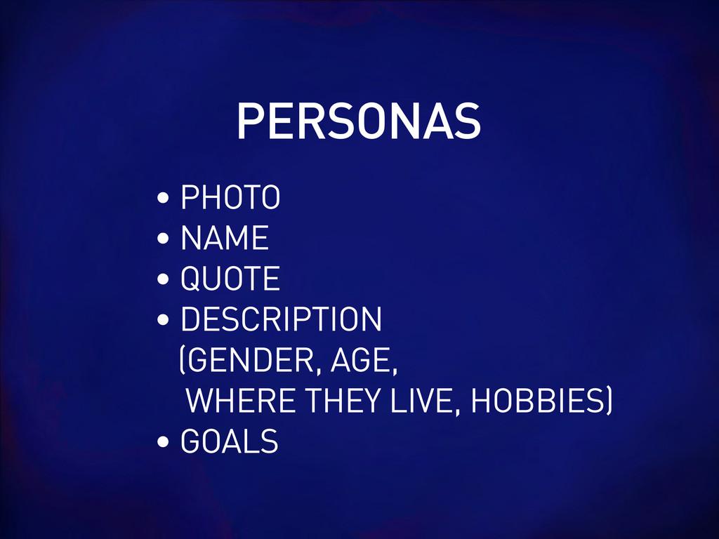 PERSONAS • PHOTO • NAME • QUOTE • DESCRIPTION (...