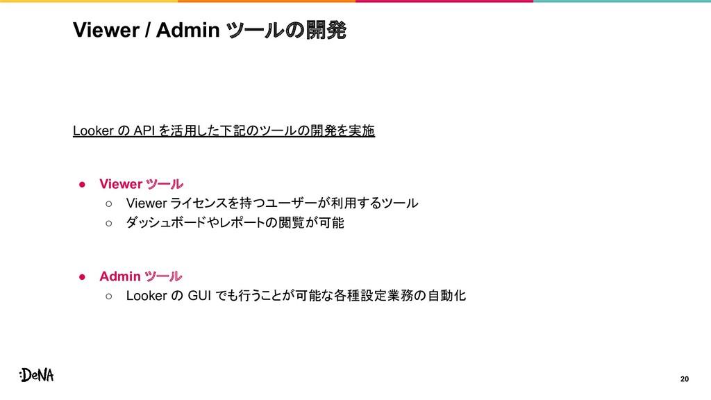 Viewer / Admin ツールの開発 Looker の API を活用した下記のツールの...