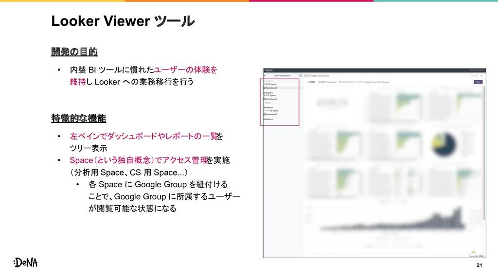 Looker Viewer ツール 開発の目的 • 内製 BI ツールに慣れたユーザーの体験を...