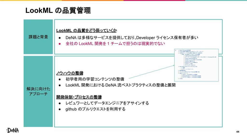LookML の品質管理 44 課題と背景 LookML の品質をどう保っていくか ● DeN...