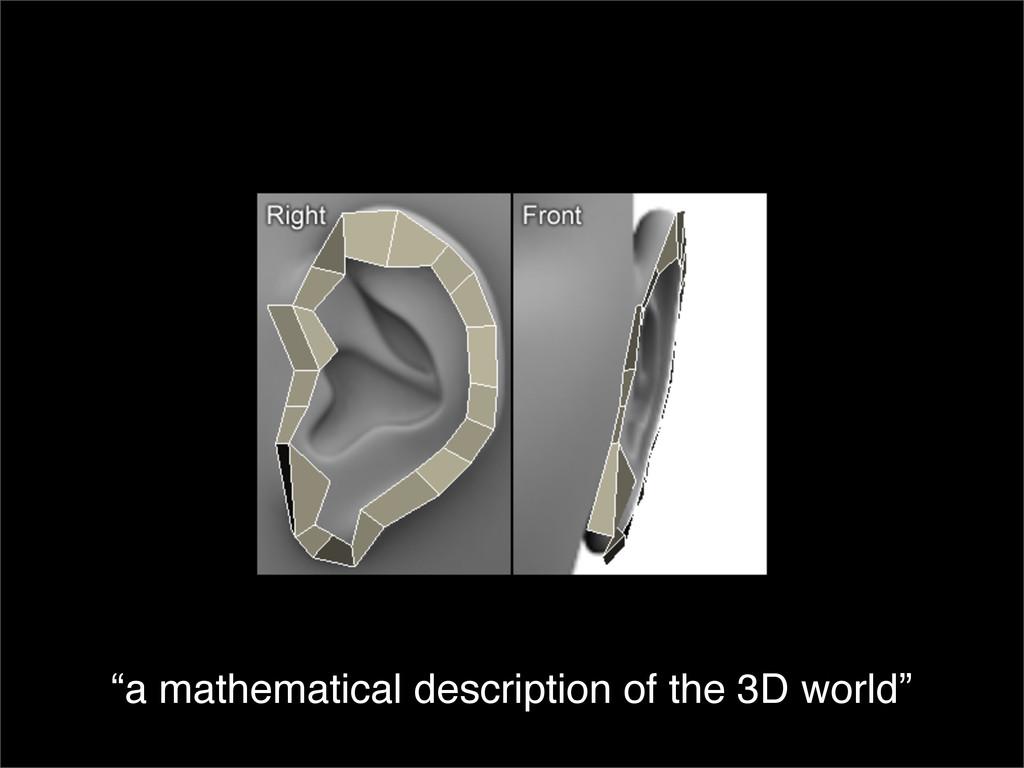 """a mathematical description of the 3D world"""
