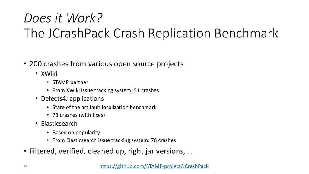 Does it Work? The JCrashPack Crash Replication ...