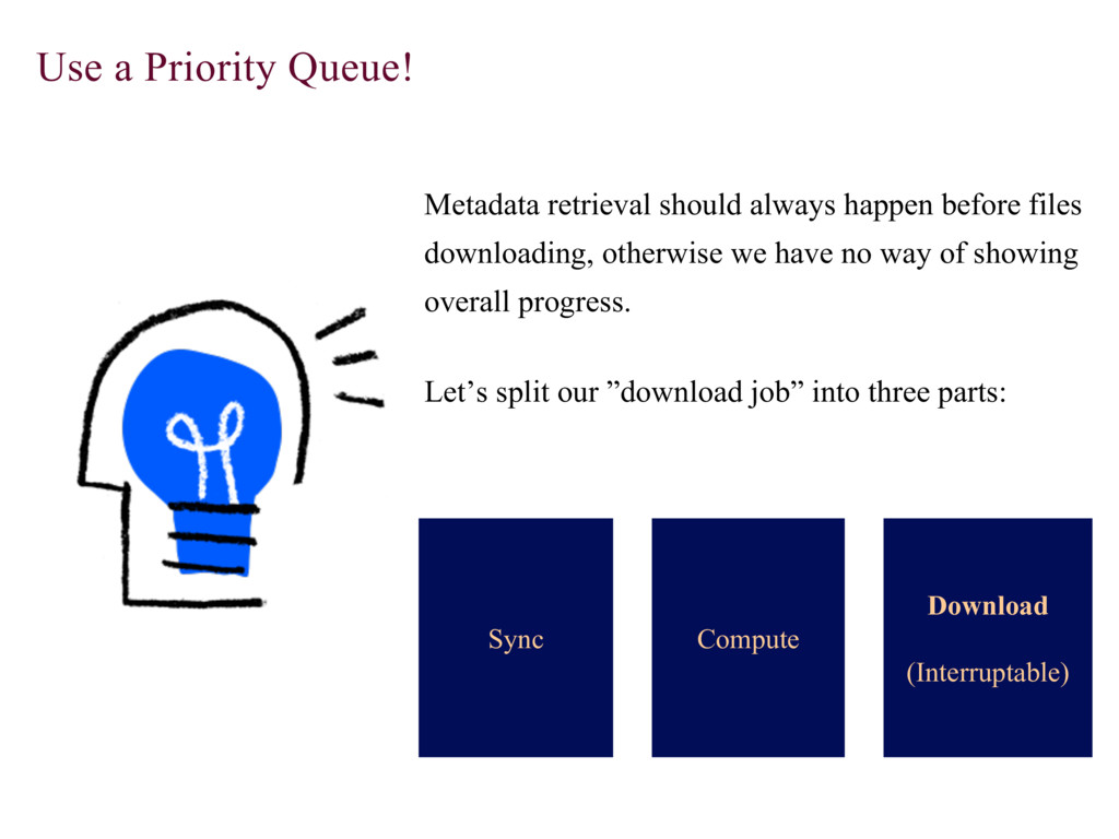 Use a Priority Queue! Metadata retrieval should...