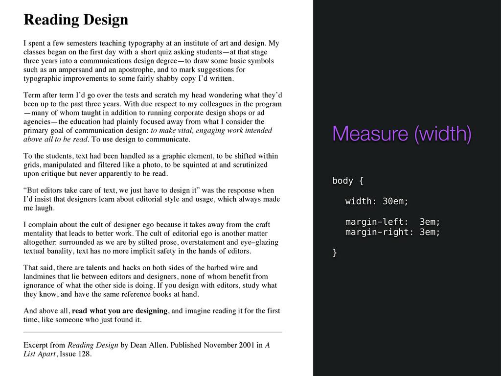 Reading Design I spent a few semesters teaching...