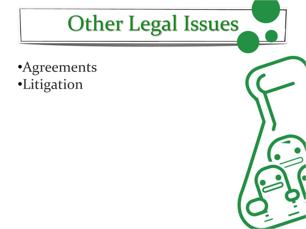 Other Legal Issues •Agreements •Litigation