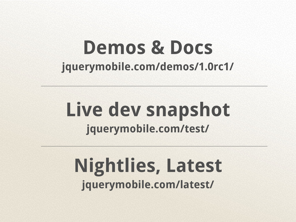 Demos & Docs jquerymobile.com/demos/1.0rc1/ Liv...