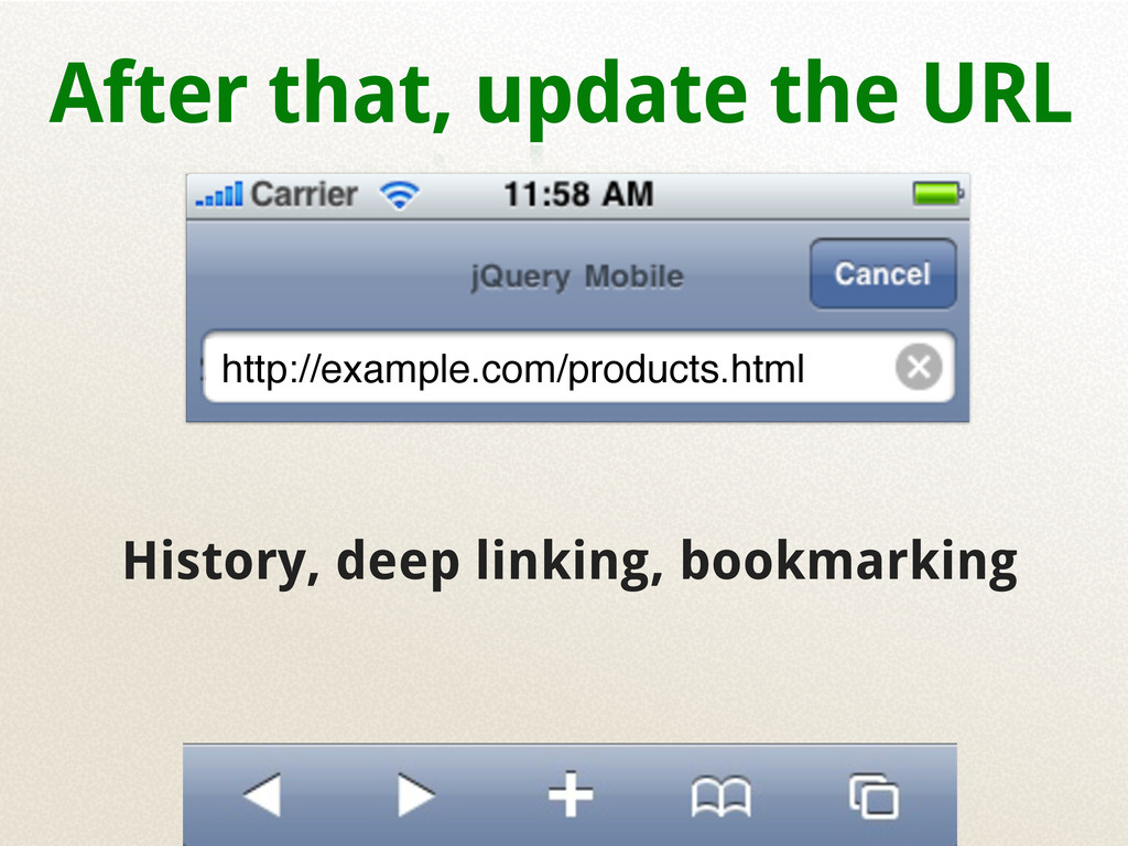 After that, update the URL History, deep linkin...