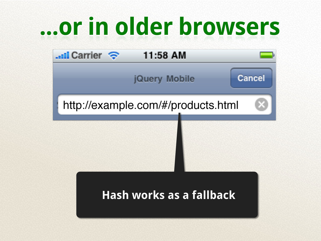 ...or in older browsers Hash works as a fallbac...