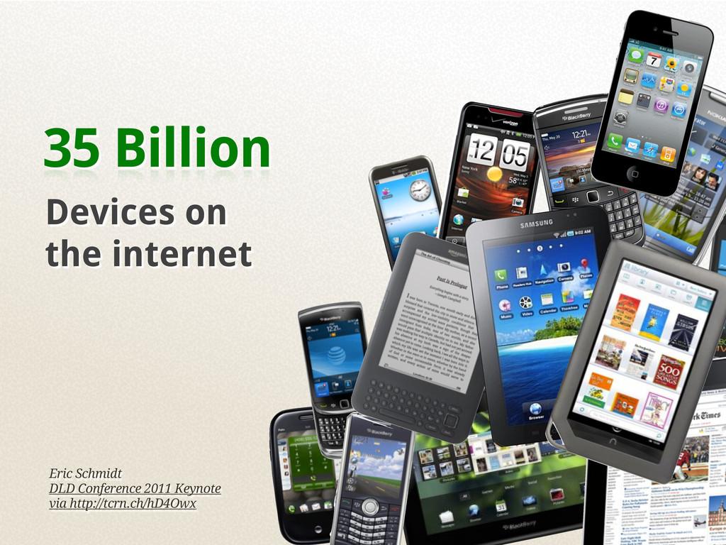 35 Billion Devices on the internet Eric Schmidt...