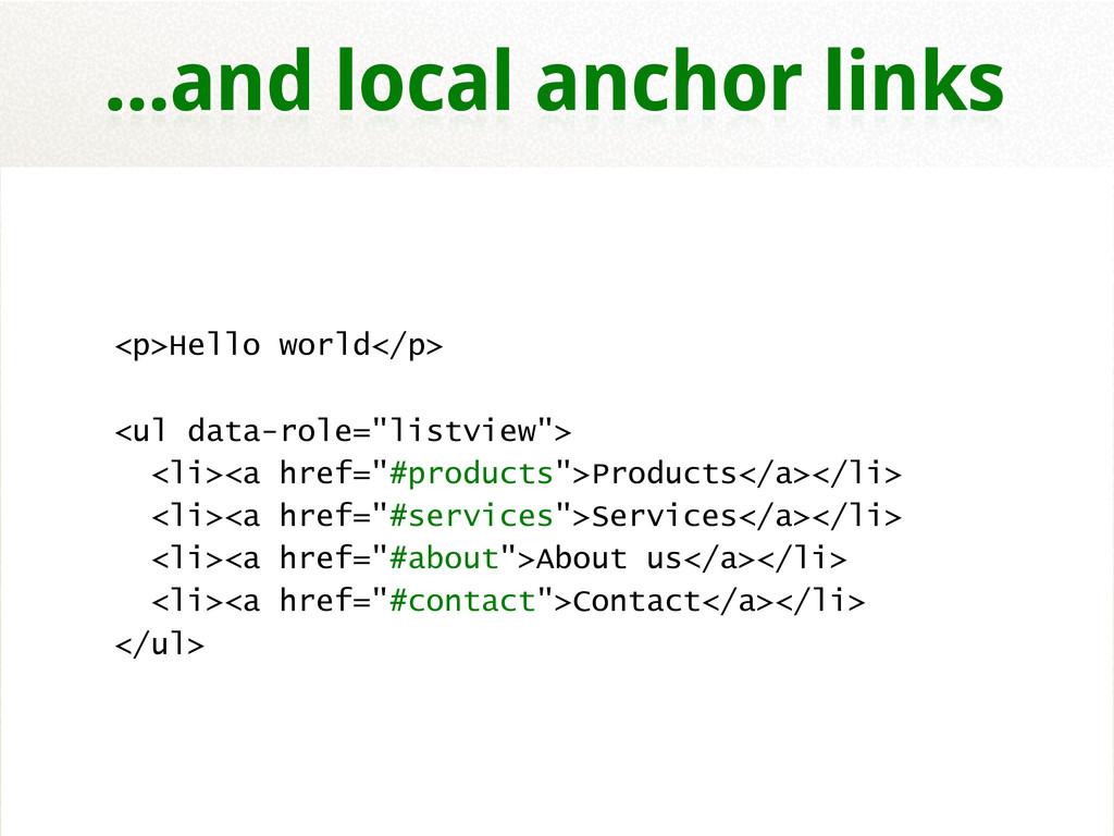 """<p>Hello world</p> <ul data-role=""""listview""""> <l..."""