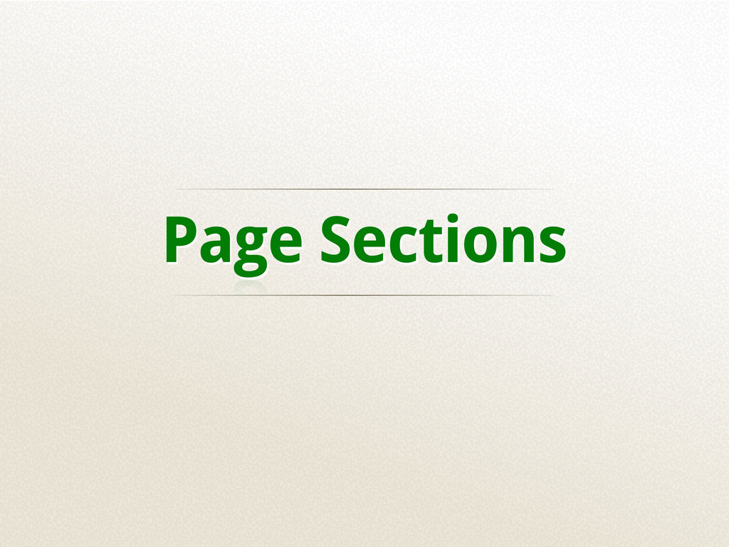 Page Sections