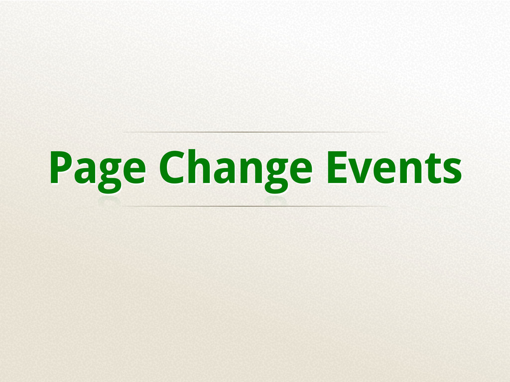 Page Change Events