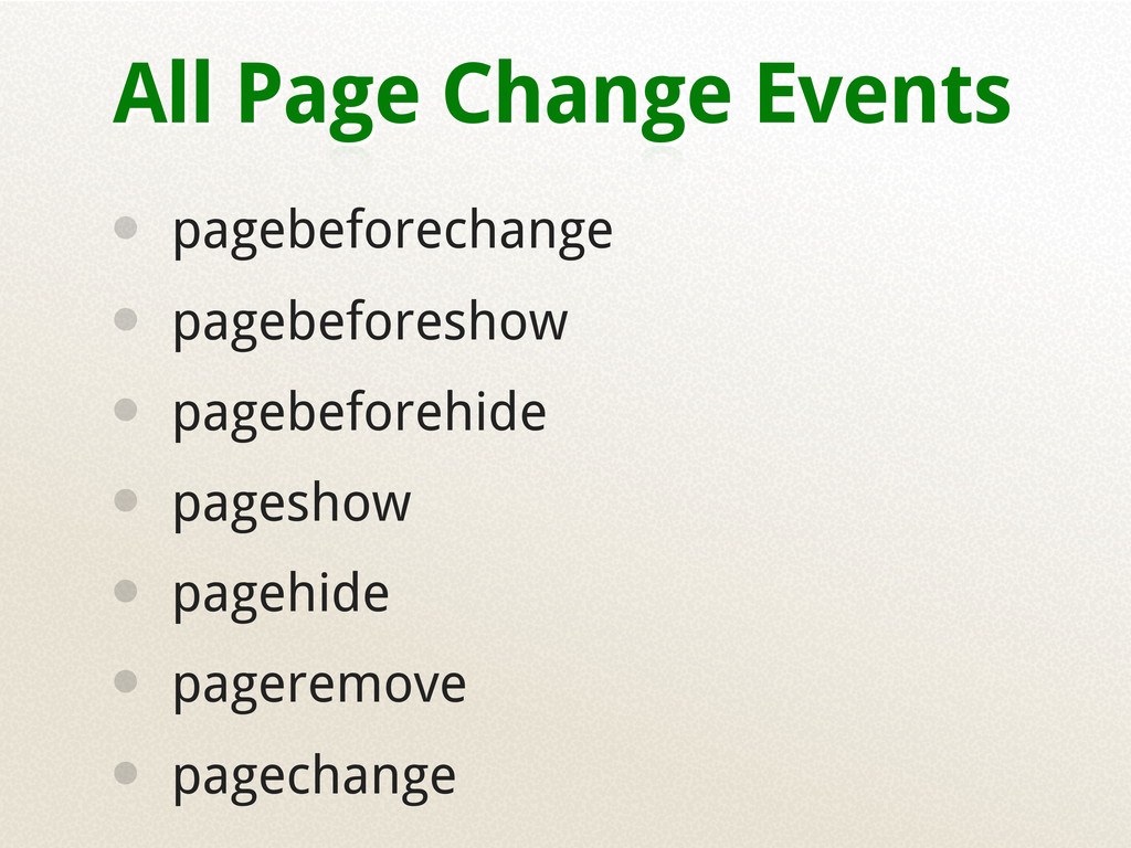 All Page Change Events • pagebeforechange • pag...