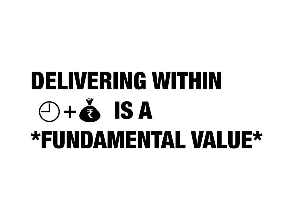 DELIVERING WITHIN IS A *FUNDAMENTAL VALUE* +