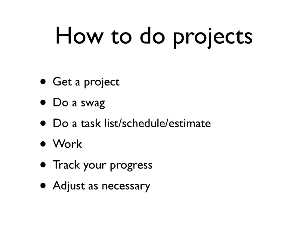 How to do projects • Get a project • Do a swag ...